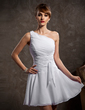 A-Line/Princess One-Shoulder Short/Mini Chiffon Bridesmaid Dress With Ruffle (007014484)