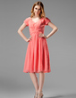 A-Line/Princess V-neck Knee-Length Chiffon Bridesmaid Dress With Ruffle (007004160)