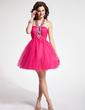 Çan/Prenses Yular Kısa/Mini Tulle Mezunlar Gecesi Elbisesi Ile Büzgü Boncuklama (022008144)