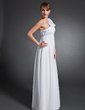 Empire One-Shoulder Floor-Length Chiffon Holiday Dress With Ruffle Flower(s) (020015077)