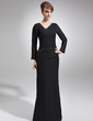 Sheath/Column V-neck Floor-Length Chiffon Mother of the Bride Dress With Beading (008005953)