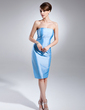 Sheath/Column Strapless Knee-Length Taffeta Mother of the Bride Dress (008015653)