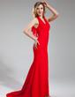Trumpet/Mermaid Halter Sweep Train Chiffon Evening Dress With Cascading Ruffles (017039548)