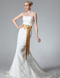 Trumpet/Mermaid Strapless Court Train Lace Wedding Dress With Sash Beading Bow(s) (002000431)