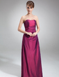 Forme Princesse Bustier en coeur Longueur ras du sol Taffeta Robe de demoiselle d'honneur avec Plissé Emperler (007001050)