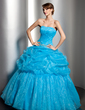 Ball-Gown Sweetheart Floor-Length Organza Quinceanera Dress With Embroidered Ruffle Beading Sequins (021003120)