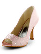 Women's Satin Cone Heel Peep Toe Sandals With Rhinestone (047029173)