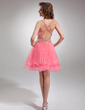 A-Line/Princess V-neck Knee-Length Organza Homecoming Dress With Ruffle Beading (022009630)