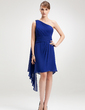Sheath/Column One-Shoulder Knee-Length Chiffon Homecoming Dress With Beading (022009978)