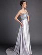 Empire Sweetheart Sweep Train Charmeuse Mother of the Bride Dress With Ruffle Beading (008015899)