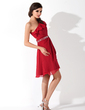 A-Line/Princess One-Shoulder Short/Mini Chiffon Homecoming Dress With Beading Sequins Cascading Ruffles (022004445)