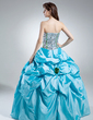 Ball-Gown Strapless Floor-Length Taffeta Sequined Quinceanera Dress With Ruffle Flower(s) (021016040)