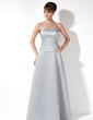 A-Line/Princess Floor-Length Satin Bridesmaid Dress With Ruffle (007000901)