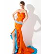 Trumpet/Sjöjungfru Hjärtformad Asymmtrisk Charmeuse Balklänning med Rufsar Pärlbrodering Paljetter Slits Fram (018005091)