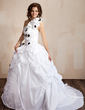 Ball-Gown One-Shoulder Court Train Taffeta Wedding Dress With Lace Beading Flower(s) Sequins Cascading Ruffles (002001432)