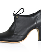 Leatherette Cone Heel Closed Toe Ankle Boots shoes (088020696)