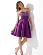Empire Sweetheart Short/Mini Charmeuse Homecoming Dress With Ruffle Beading (022010488)