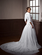 A-Line/Princess Sweetheart Watteau Train Taffeta Wedding Dress With Ruffle Beading Appliques Lace Bow(s) (002011467)