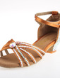 Women's Satin Heels Sandals Latin With Rhinestone Ankle Strap Dance Shoes (053026927)