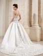 Ball-Gown Strapless Cathedral Train Satin Wedding Dress With Embroidered Beading Sequins (002012660)