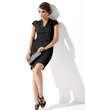 Sheath/Column V-neck Short/Mini Satin Mother of the Bride Dress With Ruffle (008013763)