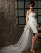 Sheath/Column Sweetheart Asymmetrical Detachable Organza Wedding Dress With Ruffle Flower(s) (002011463)