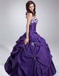 Ball-Gown Strapless Floor-Length Taffeta Quinceanera Dress With Ruffle Beading Appliques Lace Sequins (021020747)