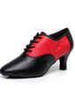 Women's Real Leather Heels Swing With Lace-up Dance Shoes (053057394)