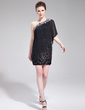 Sheath/Column One-Shoulder Short/Mini Chiffon Sequined Cocktail Dress With Beading Appliques Lace Pleated (016019175)
