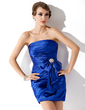 Sheath/Column Strapless Short/Mini Charmeuse Cocktail Dress With Ruffle Crystal Brooch Bow(s) (016005263)