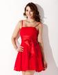 A-Line/Princess Short/Mini Chiffon Homecoming Dress With Ruffle Bow(s) (022020835)
