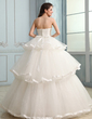 Ball-Gown Sweetheart Floor-Length Charmeuse Tulle Wedding Dress With Ruffle Beading (002030755)