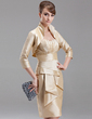 Sheath/Column Sweetheart Knee-Length Taffeta Mother of the Bride Dress With Cascading Ruffles (008006232)