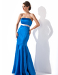 Trumpet/Mermaid Strapless Floor-Length Satin Bridesmaid Dress With Sash (007014264)