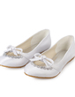 Women's Satin Flat Heel Closed Toe Flats With Bowknot Rhinestone (047014129)
