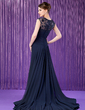 A-Line/Princess Scoop Neck Watteau Train Chiffon Mother of the Bride Dress With Ruffle Lace Beading Sequins (008018769)