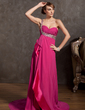 A-Line/Princess One-Shoulder Court Train Chiffon Prom Dress With Beading Sequins Split Front Cascading Ruffles (018014847)