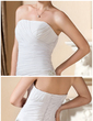 A-Line/Princess Strapless Court Train Chiffon Wedding Dress With Crystal Brooch Cascading Ruffles (002012585)