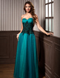 A-Line/Princess Sweetheart Floor-Length Tulle Evening Dress With Ruffle Lace (017005816)