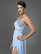 A-Line/Princess One-Shoulder Floor-Length Chiffon Prom Dress With Ruffle Beading Sequins Split Front (018005108)