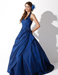 Ball-Gown Halter Sweep Train Taffeta Prom Dress With Ruffle Beading (018004996)