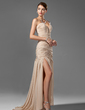 Trumpet/Mermaid Sweetheart Sweep Train Chiffon Prom Dress With Ruffle Beading Split Front (018005251)