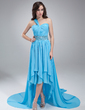 A-Line/Princess One-Shoulder Asymmetrical Chiffon Prom Dress With Beading Cascading Ruffles (018021109)