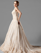 A-Line/Princess Halter Chapel Train Tulle Lace Wedding Dress With Beading (002000154)