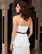 Sheath/Column Sweetheart Floor-Length Chiffon Evening Dress With Sash Cascading Ruffles (017039549)