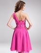 Çan/Prenses Tek-Omuzlu Diz Hizası Chiffon Mezunlar Gecesi Elbisesi Ile Büzgü Boncuklama (022010175)