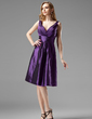A-Line/Princess V-neck Knee-Length Taffeta Bridesmaid Dress With Ruffle (007004123)