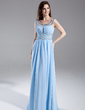 A-Line/Princess Scoop Neck Floor-Length Chiffon Prom Dress With Ruffle Beading (018015825)