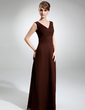 A-Line/Princess V-neck Floor-Length Chiffon Bridesmaid Dress With Ruffle (007001832)