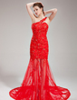 Trumpet/Mermaid One-Shoulder Court Train Tulle Prom Dress With Beading Sequins (018018893)